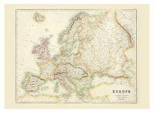 Old Vintage Europe map Fullarton ca. 1872