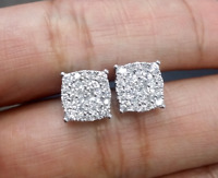 STEAL DEAL! 1.00CTW NATURAL ROUND DIAMOND CLUSTER STUDS EARRINGS IN 14K GOLD 8MM