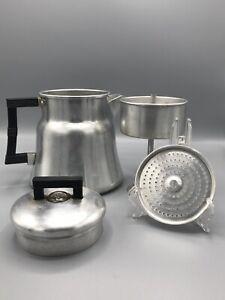 Vintage WEAR-EVER Aluminum Stove Top Camp 8 Cup Coffee Pot Percolator #3008 USA