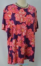 CROFT & BARROW floral woman top blouse shirt knit T Tee Short Sleeve SZ 1X NEW