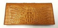 Genuine Crocodile Wallets Alligator Skin Leather Long Bifold Men's Purses Orange