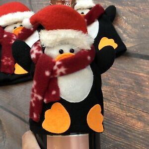 3pc Set Cute Penguin w/ Santa Hat Christmas Holidays Wine Bottle Cover EUC