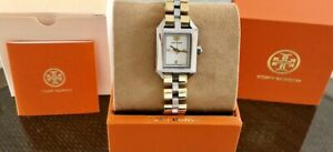 NEW! TORY BURCH DALLOWAY SILVER & GOLD PLATED STAINLESS STEEL 23MM WATCH TBW1102