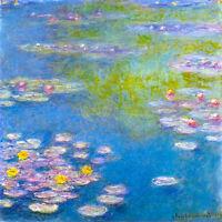 "CLAUDE MONET ~ Water lilies  yellow ~ CANVAS ART PRINT Poster ~ 24""X 24"""