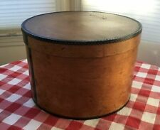 """Antique Wooden Hat Box with Metal Banding 15"""" x 10"""""""