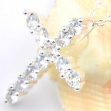 New Arrival Shiny Luxury Rhinestones Gems Silver Cross Necklaces Pendants