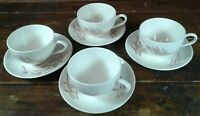 Set of 4 Coffee Cups and Saucers Gold Wheat on White Japan Pottery Dinnerware
