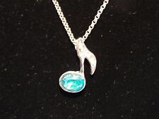 Music Note Necklace Blue Topaz Color Crystal Stone