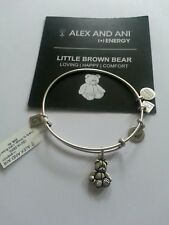 Alex and Ani Teddy Bear Charm Bangle Bracelet NWT BOX RETIRED Russian Silver