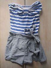 Hollister by Abercrombie Royal Blue Striped Tie Strapless Romper Short Set L