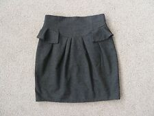 Womens Cue Grey High Waisted Peplum Skirt, Size 10