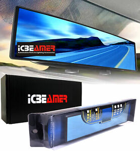 ICBEAMER 240mm Convex Blue Tint Interior Rearview Mirror Snap on Blind Spot Q17