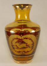 Bohemian Cut Glass Stag & Castle Vase with Gilt Banding