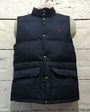 POLO Ralph Lauren Boys 18-20 Reversible Blue Red Vest Puffer Pony Down Feathers