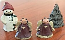 4 Sarah's Attic Figurines Miniatures - Snowman 1.25� 2 Angels & Tree