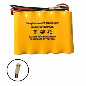 6v 800mAh Ni-CD Battery Pack Replacement for Emergency / Exit Light