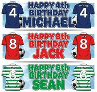 "2 PERSONALISED FOOTBALL BIRTHDAY BANNER 36 ""x 11""  ANY AGE, ANY NAME, ANY COLOUR"