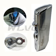 JOBON Triple Flame Torch Jet Butane Cigar Cigarette Lighter Punch Silver