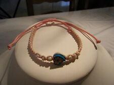 1 Bracelet enfant coeur fleuri et perlettes nacrées-cordon macramé blanc et rose