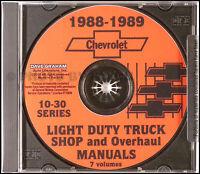 1988 Chevy Truck Shop Manual Pickup Suburban Blazer Van Chevrolet Repair Service