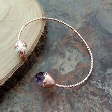 White Keshi Pearl Amethyst Rough 24 K Rose Gold Plated Bangle Bracelet