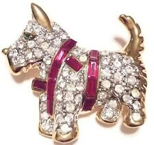 High End Vintage Estate RUBY RED Rhinestone SCOTTIE DOG Brooch PIN Jewelry LOT A