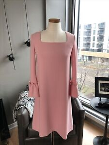 New Botique Moschino Square Neck Crepe Long Sleeve Shift Dress Size 38 IT / 4 US