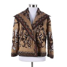 St John Collection Equestrian Leather Trim Lined Brown Knit Cropped Jacket Sz 2