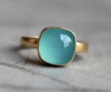Natural Square Aqua Chalcedony Gemstone 14K Yellow Gold Wedding Gift Ring Size 7