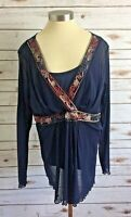 LANE BRYANT Women Long Sleeve Pull Over Scoop Neck Blue Shirt Top Size 14/16