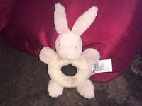 MOTHERCARE MY FIRST BUNNY RABBIT RING RATTLE PLUSH SOFT TOY BABY COMFORTER