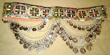 Belly Dancing Professional Dance Silvertone Coins Hip Embroidered Belt
