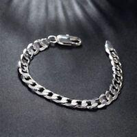 925 Silber Überzogene 8 MM Armband Kette Panzerkette Herren Herren Schmuck Neu