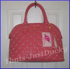 New LUV BETSEY Betsey Johnson LBHARPER Coral Quilted Bag  SATCHEL PURSE
