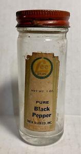 Vtg H.D. LEE MERCANTILE Pure BLACK PEPPER Jar BOTTLE w/ Label
