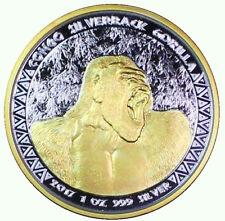 1 oz 2017 .999 Silver Congo Silverback Gorilla Gilded Coin 5000 Francs 24K Gold