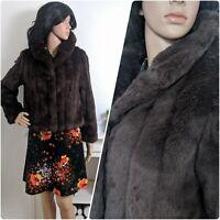 Vintage Brown Faux Fur Short Jacket Teddy Coat Cosy Boho Disco Chic S 8 10 36