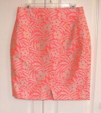 NWT J Crew neon persimmon jacquard crossover pencil skirt 10 Petite
