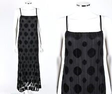 ISSEY MIYAKE Fete Black Pleats Pleated Polkadot Maxi Cocktail Dress Size 3 NWT