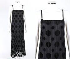 ISSEY MIYAKE Fete Black Pleats Pleated Polkadot Maxi Cocktail Dress Size 3 NWT