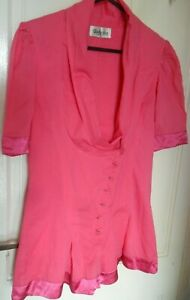 Womens Religion Pink Buttoned Front Cotton Playsuit - Size 10/S
