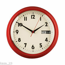 30CM DIA RETRO RED METAL WALL CLOCK DAY DATE CLEAR FACE BLK NUMBERS