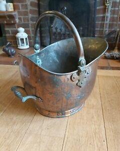 LARGE VICTORIAN ANTIQUE COPPER Coal Scuttle Helmet Shape Verdigris Log Basket