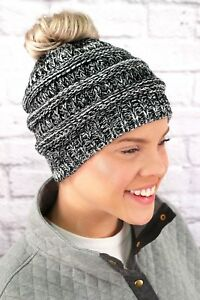 Wind Chill Two Tone Pony Tail Beanie  Black