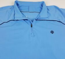 Coolibar Sun Protection UPF 50+ 1/4 Zip Performance Pullover Blue L/S Large