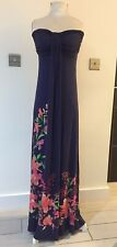 Next Blue Strapless Maxi Dress - Size 10 - Moulded Cups & Tum Flattening Lining