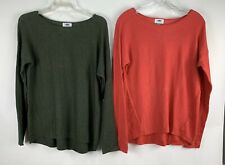 Old Navy Lot Of 2 Sweaters Pullover Green Pink Pullover Long Sleeve Womens Small