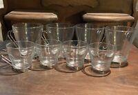 Vintage Bormioli Rocco Glass & Metal Espresso Cups, 4 Standard And 4 Demitasse