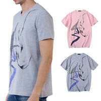 Mens Ink Painting Cotton T-shirt V Neck Short Sleeves Summer Tops Over Size
