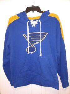 NHL Nashville Blues Hockey Logo Hooded Sweatshirt Boys Medium Blue